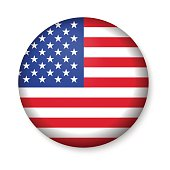 American United States Flag in glossy round button of icon.