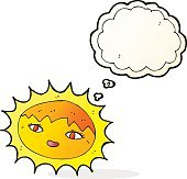 cartoon pretty sun with thought bubble