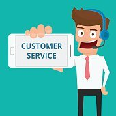 Businessman holding smart phone show message CUSTOMER SERVICE.
