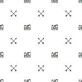 Seamles geometric line pattern with cameras and arrows