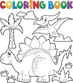 Coloring book dinosaur theme 1