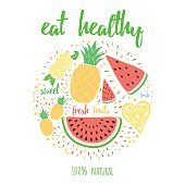 Hand drawn lettering color card with text 'Eat healthy' decorated