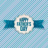 Happy Fathers Day festive Label with Ribbon