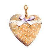 Textile heart with lace ribbon and bow. Watercolor
