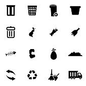 Vector black garbage icon set