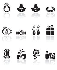 Jewelry and Wedding Icon Set