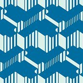 Graphic simple ornamental tile, vector repeated pattern made using cubes