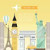 Vector banner of travel tours. Advertising design.
