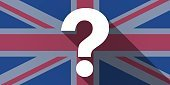 United Kingdom flag icon with a question sign