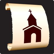 Christian church on paper scroll
