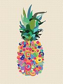 Summer pineapple design with modern color shapes