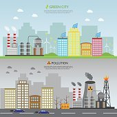 Ecology vector green town and pollution infographic