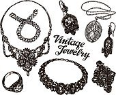 Collection vintage Jewelry. Gold and Precious Stones. Hand drawn sketches