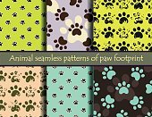 Vector seamless pattern set with cat or dog footprints.