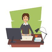 Office woman vector illustration. Work place. Busines and working.