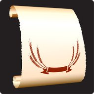 wheat banner seal on paper scroll