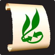 green recycling on paper scroll