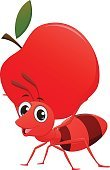 happy ant cartoon with apple