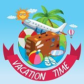 Vacation time with bag and airplane