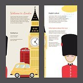 The trip to London. Travel flyers with famous landmarks.