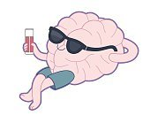 Relaxing with a glass of juice, Brain collection