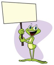 Frog holding sign