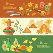 Mexico banners mexican culture and food