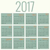 Monthly Calendar for 2017