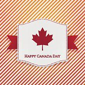 Happy Canada Day striped Background Template