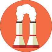 Air pollution. Factory chimney. Global warming