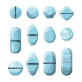 Vector set of various medical pills in flat style