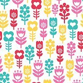 Retro Flowers Seamless Pattern Background