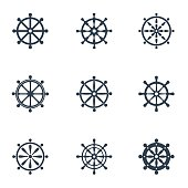 Vector black rudder icon set