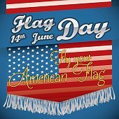 Flag Day Design with American Flag with Fringes