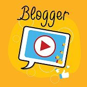 Video Blog Tablet Player Interface Icon Bloggind Concept