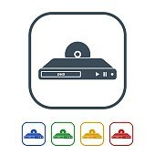 DVD player Icon Isolated on White Background