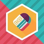 Eraser flat icon with long shadow,eps10