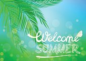 Hand drawn inscription Welcome summer on a tropical background.