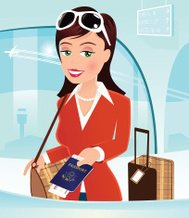 Girl checking in at airport desk with passport