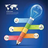 Design pencil with lightbulb Infographics 5 options, Business concept infographic.