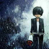 digital painting of sad boy with bouquet in rainy day