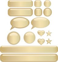 Shiny Buttons and Stickers Set - Gold