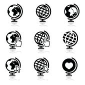Globe earth vector icons with cursor hand and arrow