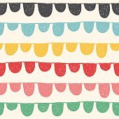 Hand drawn colorful seamless pattern with bunting and celebration garland