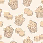 Delicious cupcakes with macaroons on beige background, seamless