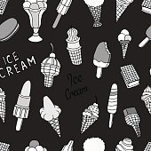 ice creams seamless pattern.