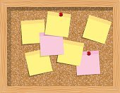 Cork board  with sheets of paper for notes