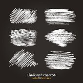 Set of vector grunge texture created with chalk and charcoal.