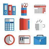 Office equipment flat icon set