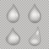 Water drops with transparency . Vector